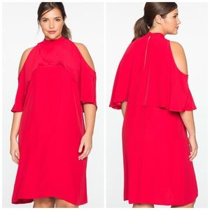 Eloquii Cold Shoulder Mock Neck Ruffle Dress
